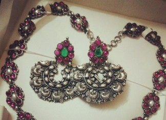 Pure Silver ruby studded necklace and chandbali