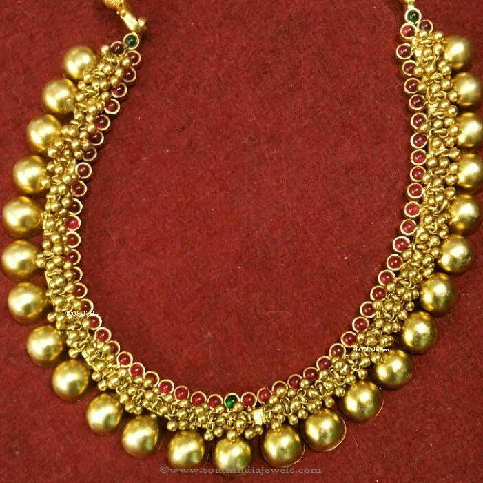 Gold Plated Antique Ball Necklace