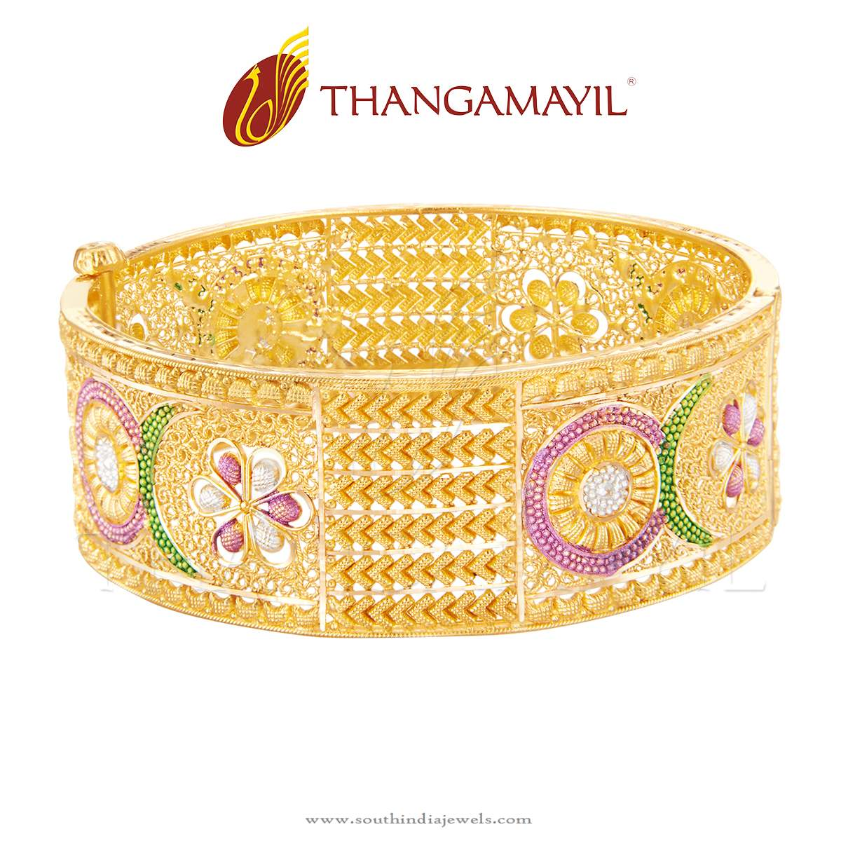 Big Bridal Gold Bangle From Thangamayil Jewellery ~ South India Jewels