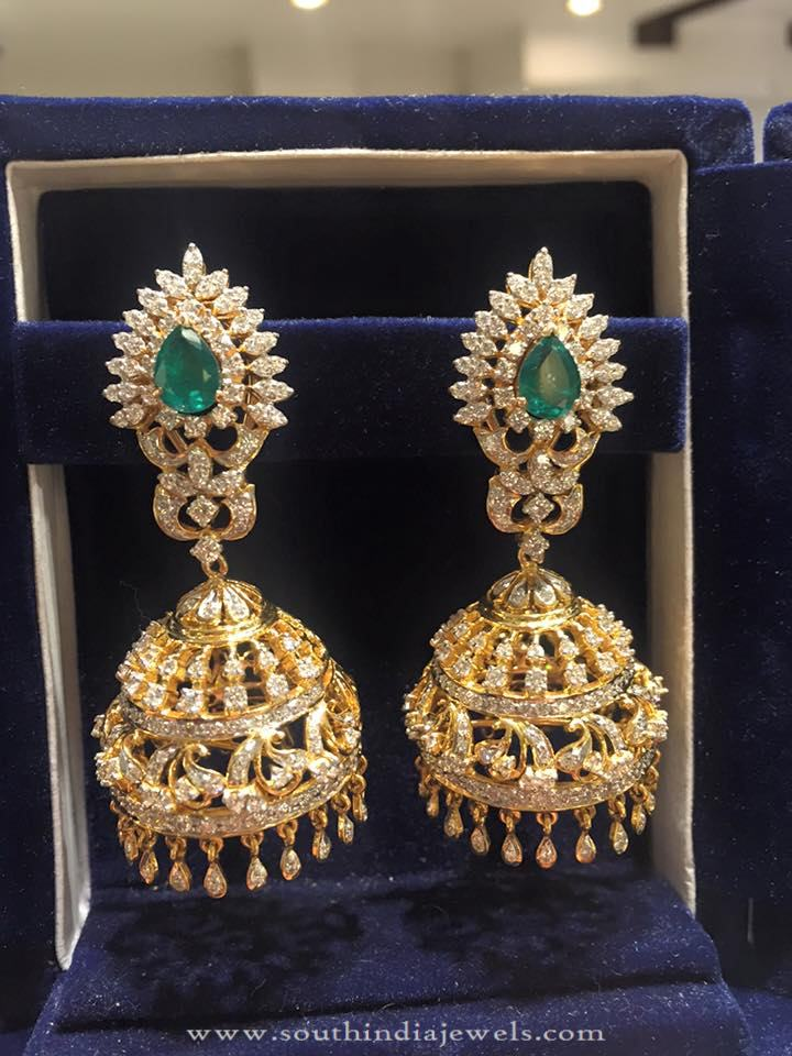 Bridal Diamond Jhumka with Emeralds