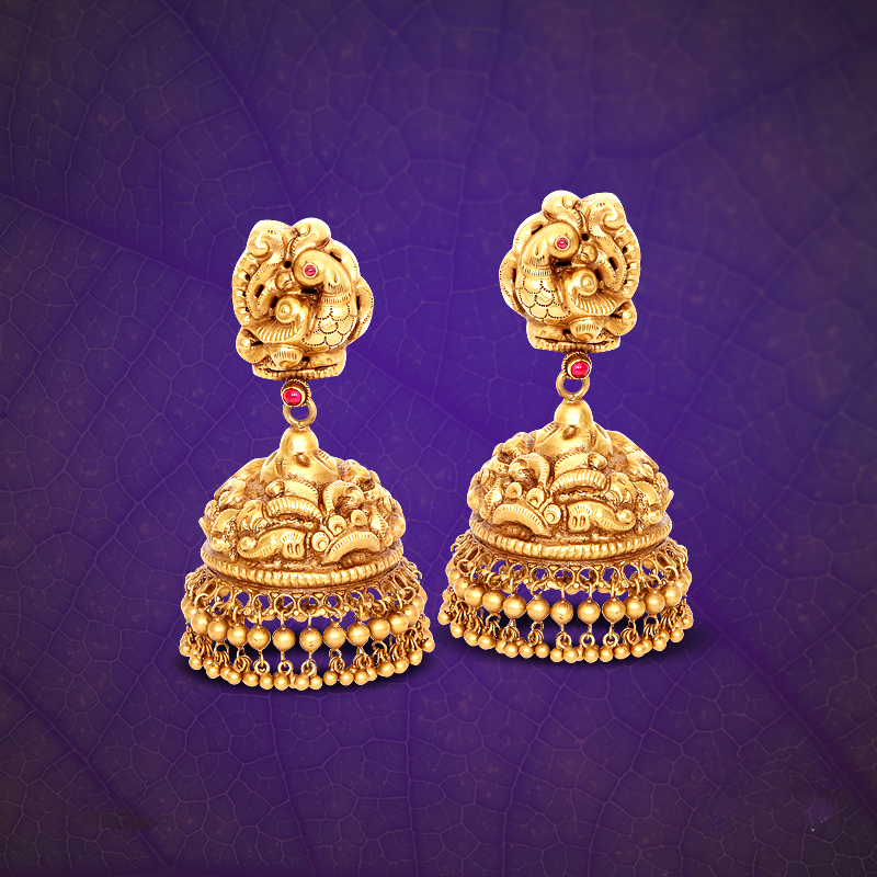22K Gold Jhumka from GRT ~ South India Jewels