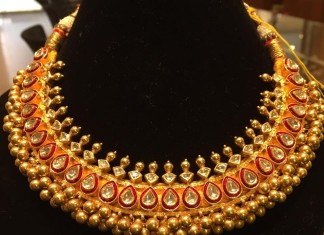 Gold Antique Clustered Beads Choker Necklace