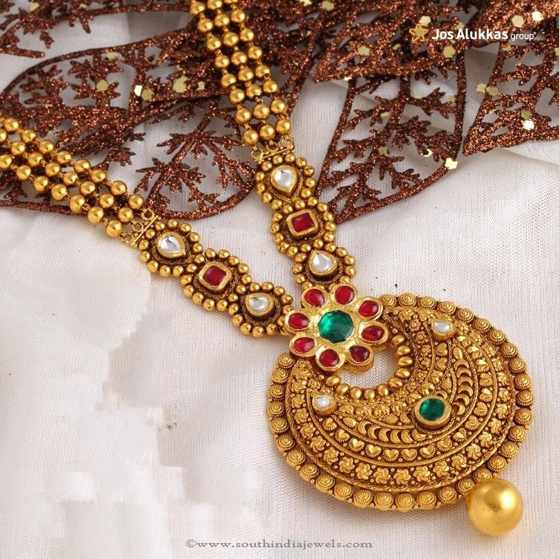 polki wedding set gold indian copy antique south for necklace plated buy long pearl traditional kundan style women