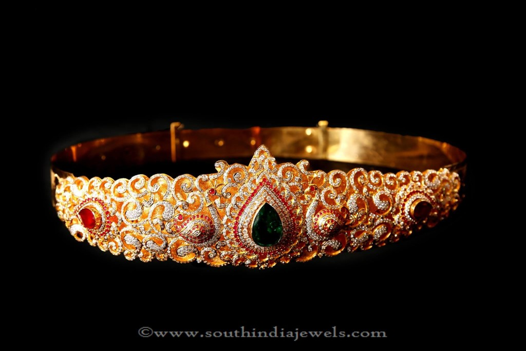 Gold Bridal Stone Vadanam from Mor Jewellers