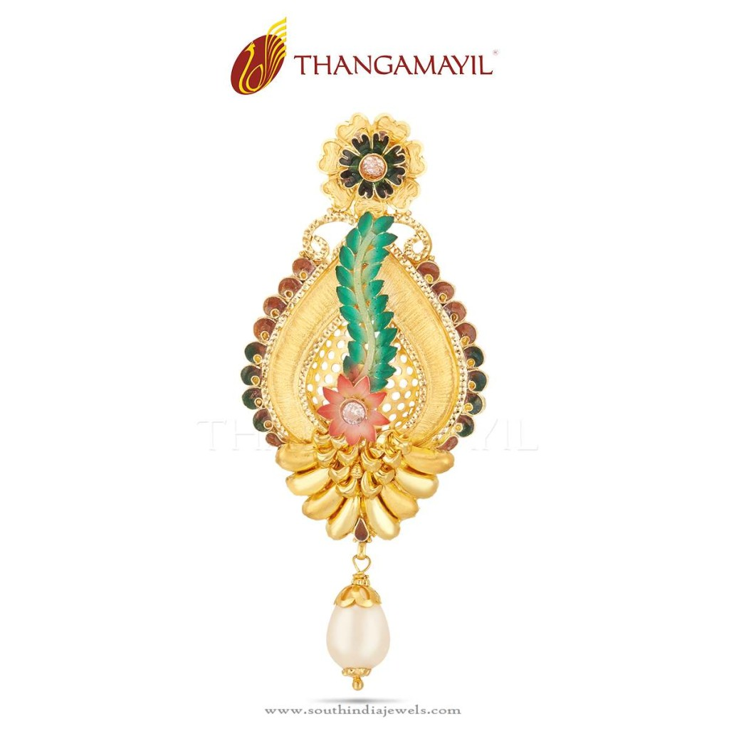 Gold Designer Pendant From Thangamayil Jewellery