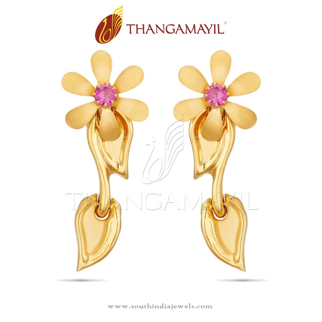 22K Gold Floral Ear Stud