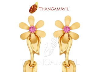 22K Gold Floral Ear Stud