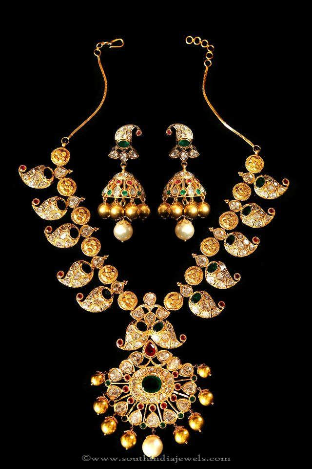 Gold Mango Necklace with Jhumka from Mor Jewellers