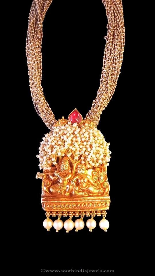 Gold Antique Pearl Mala with Temple Pendant