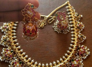 Gold Plated Silver Guttapusalu Necklace Design