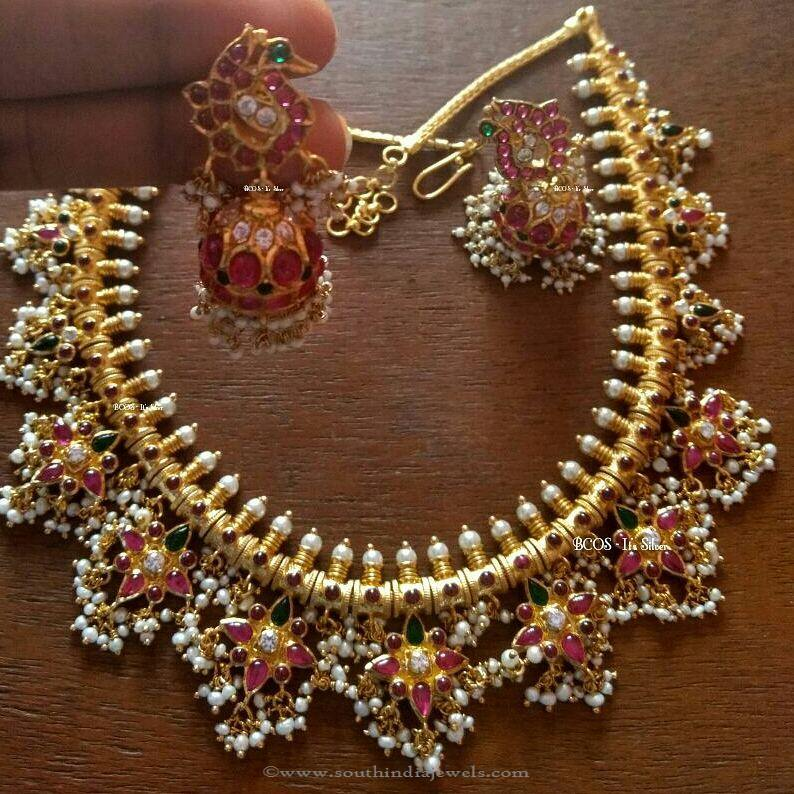 db7f13256 Gold Plated Silver Guttapusalu Necklace Design ~ South India Jewels