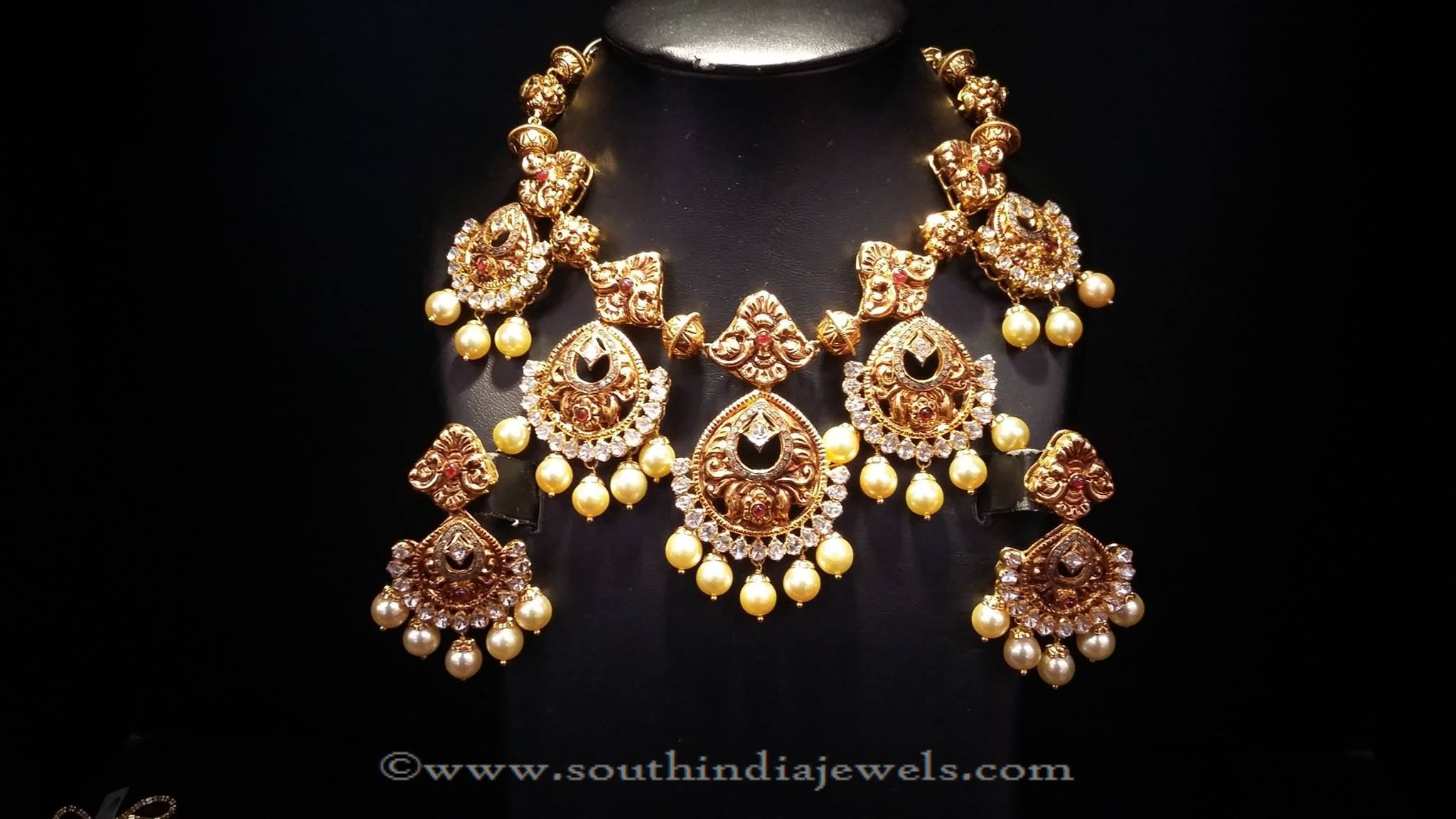 necklace emeralds embedded malabar with gold heavy jewellery ruby artistry and choker latest