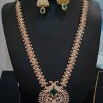 Imitation Gold White Stone Long Necklace Set