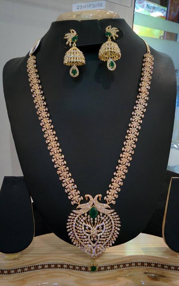 Imitation Gold White Stone Long Necklace Set South India