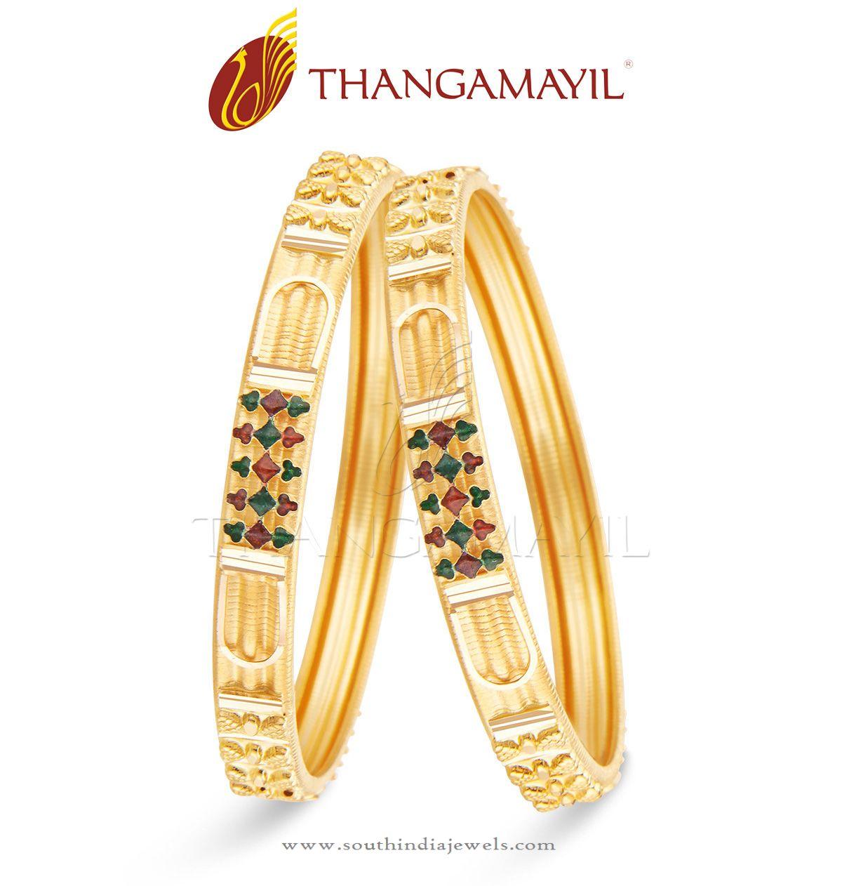 22 Carat Indian Gold Bangle Design South India Jewels