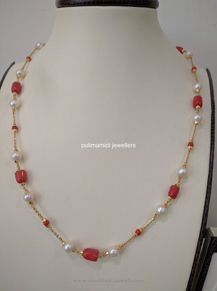 indian gold coral pearl chain necklace south india jewels