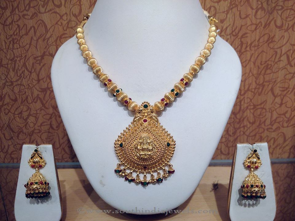 109c54a87df Light Weight Gold Temple Jewellery Necklace ~ South India Jewels