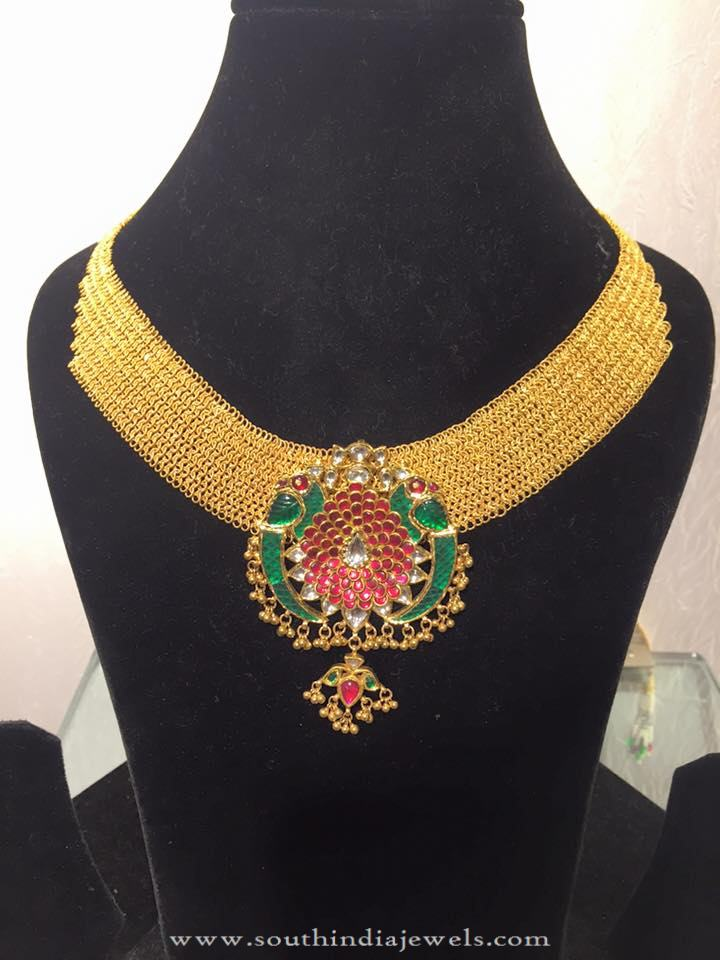 Low Weight Gold Choker Necklace