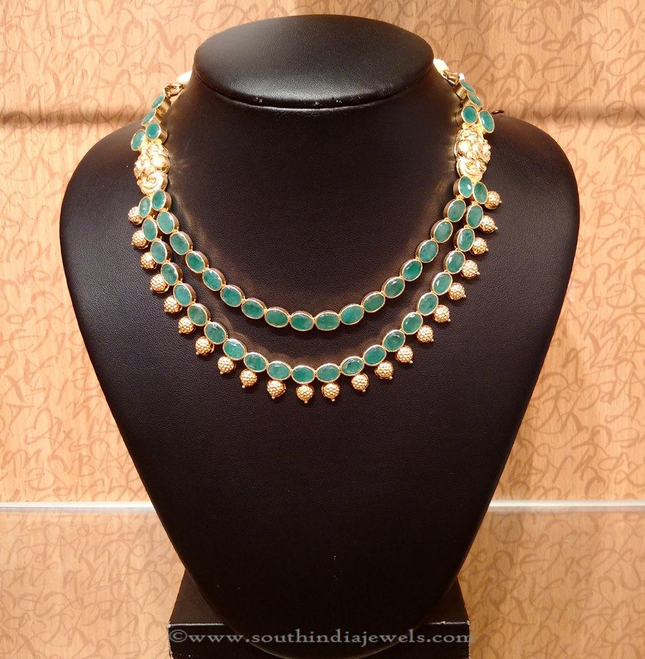Multi layer gold emerald necklace from NAJ