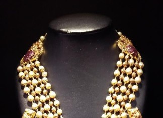 Gold Multi Layer Pearl Haram with Jhumkas