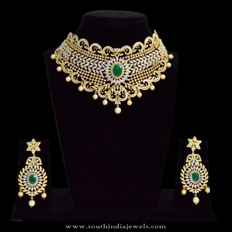 991e93dbca One Gram Gold Plated Choker Necklace with Price ~ South India Jewels