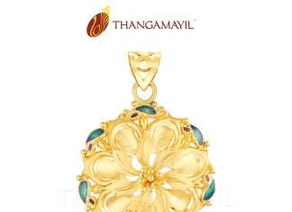 Yellow Gold Floral Pendant from Thangamayil Jewellery