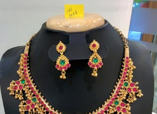 One Gram Gold Ruby Necklace with Earrings