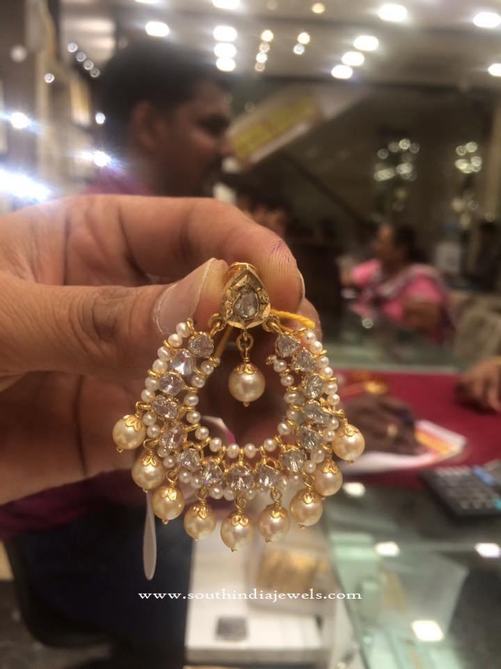 22 Grams Gold Pearl Chandbali Design