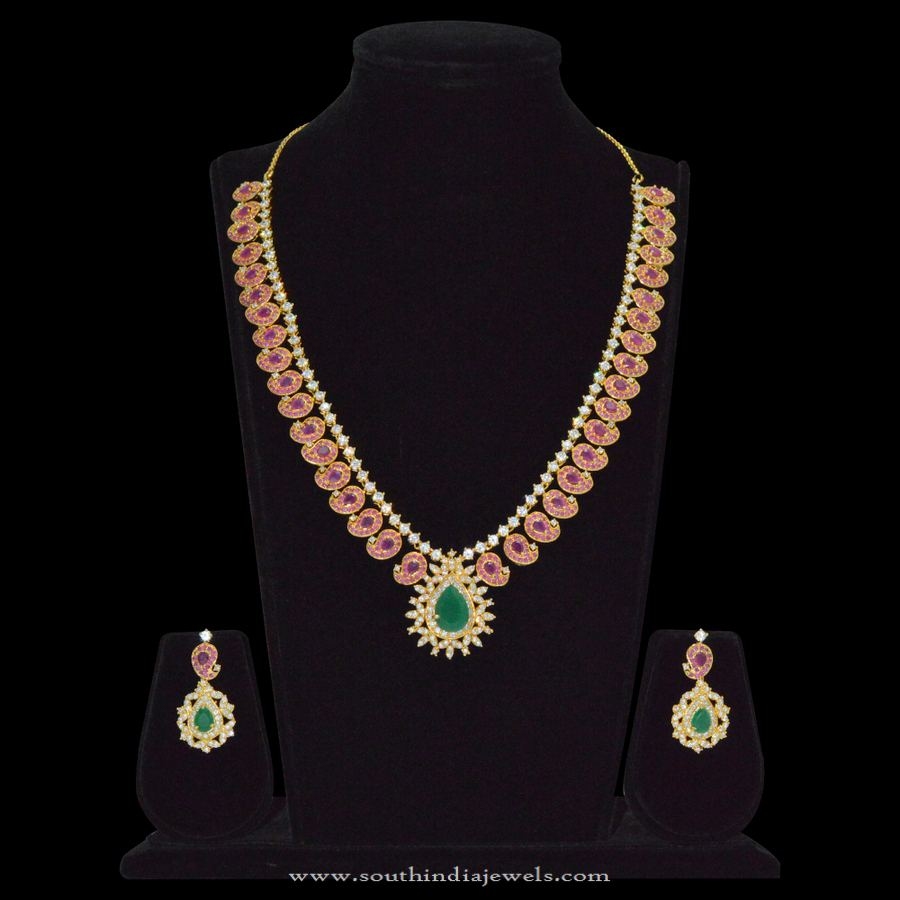 1 Gram Gold Ruby Emerald Necklace Sets