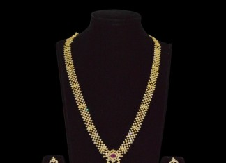 Gold Plated Long Stone Necklace with Earrings