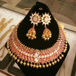 Gold Antique Ruby Choker with Jhumka