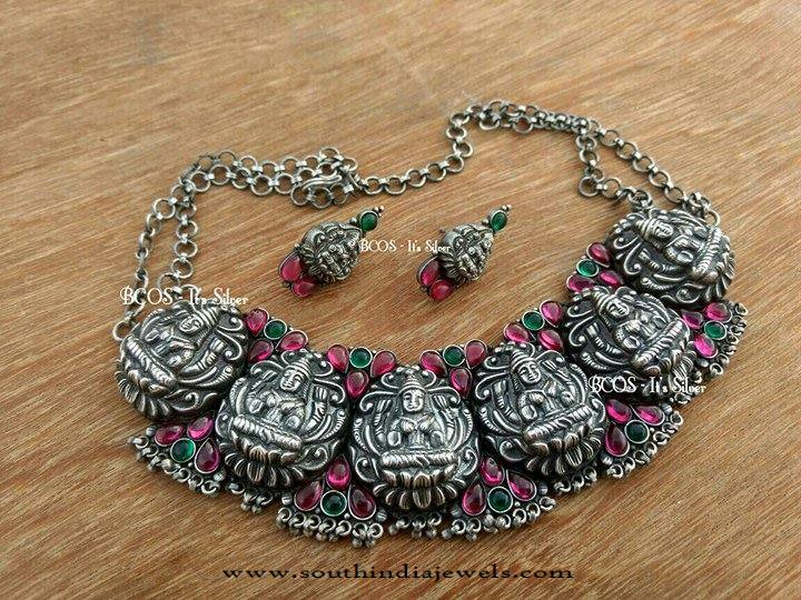 Antique Silver Temple Lakshmi Choker