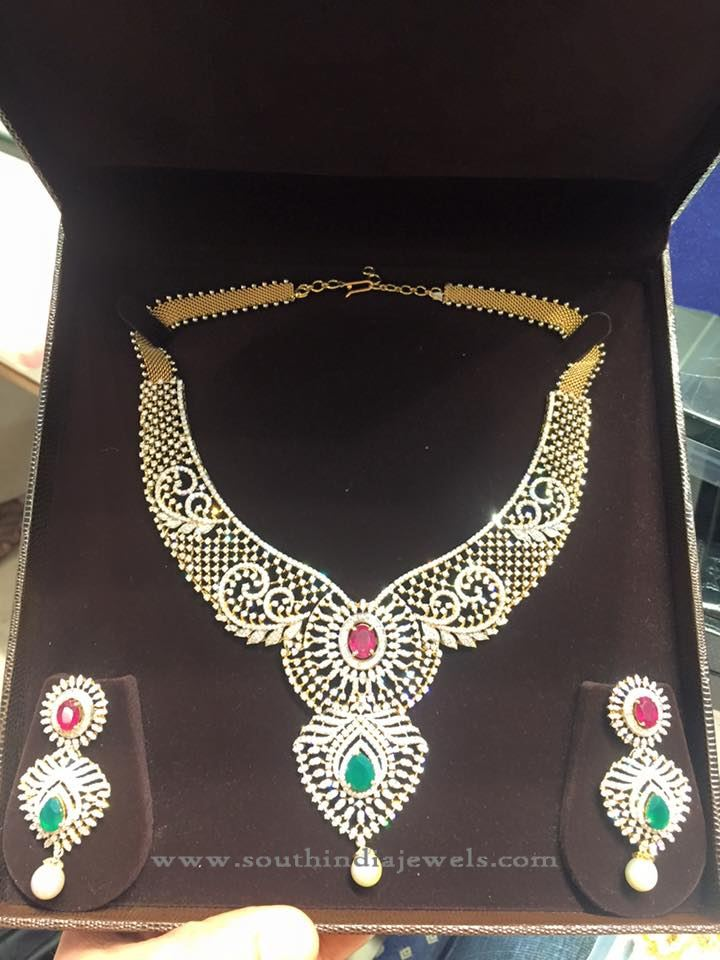 Bridal Diamond Necklace and Earrings Design