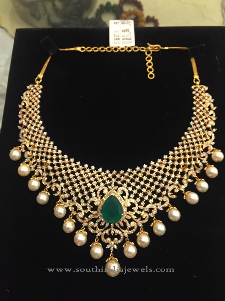 Designer Diamond Necklace Set with Pearls