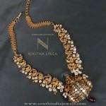 Gold Antique Necklace Set with Ganesh Pendant