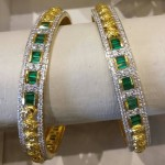 Gold Diamond Emerald Bangle Design