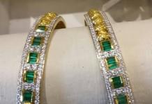 Gold Diamond Emerald Bangle Design