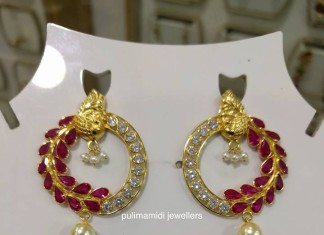 Gold Designer Ruby Earrings