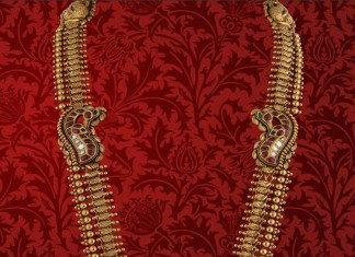 Gold Antique Long Haram from P.Sathyanaranayan & Sons Jewellers