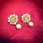 Gold Ear Stud with Pearl Drop