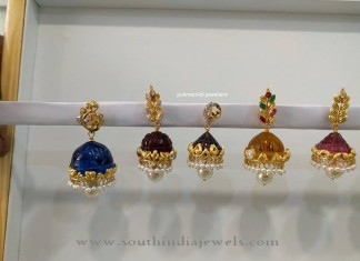 Gold Jhumkas with Interchangable Stones