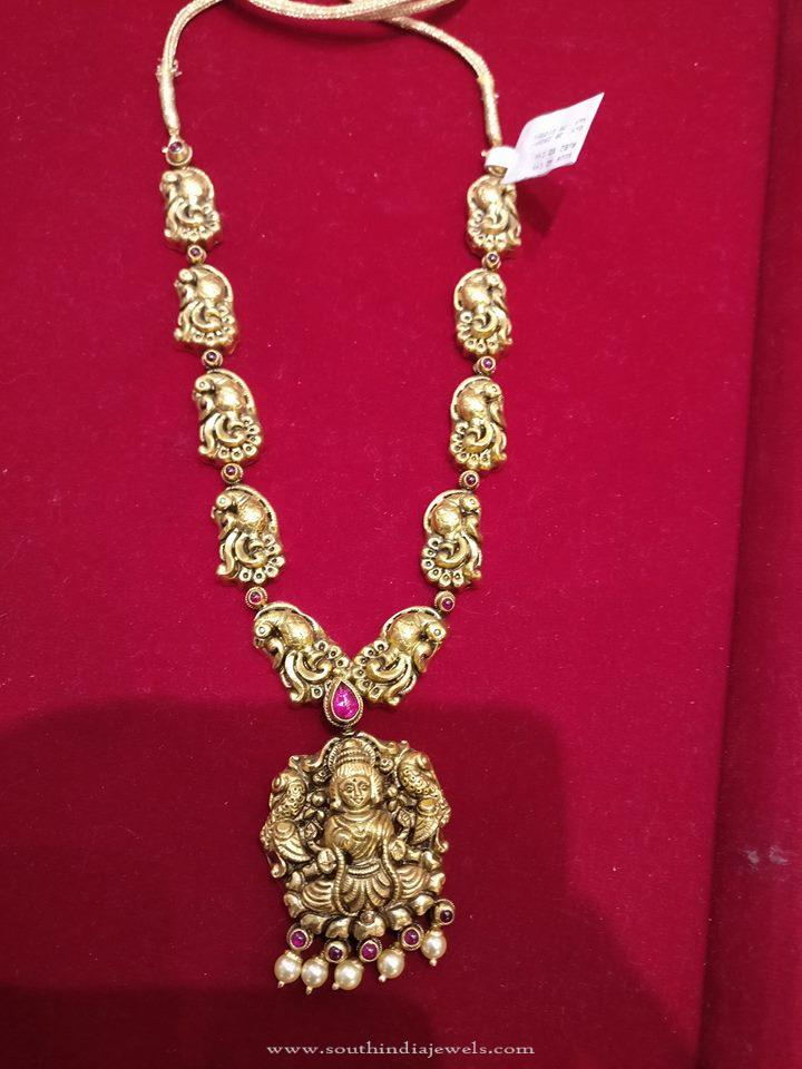 Gold Nakshi Lakshmi Necklace Design
