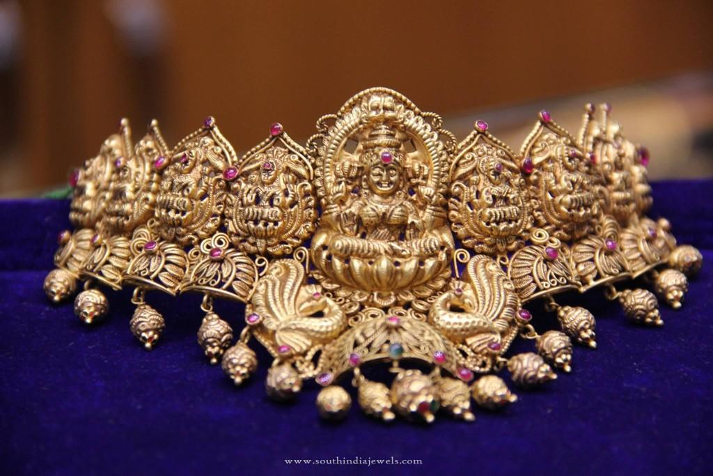 Gold Temple Lakshmi Choker Neckalce