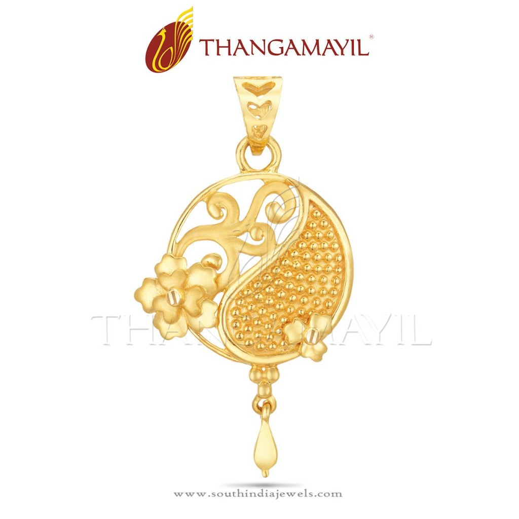 Simple Gold Pendant from Thangamayil Jewellery