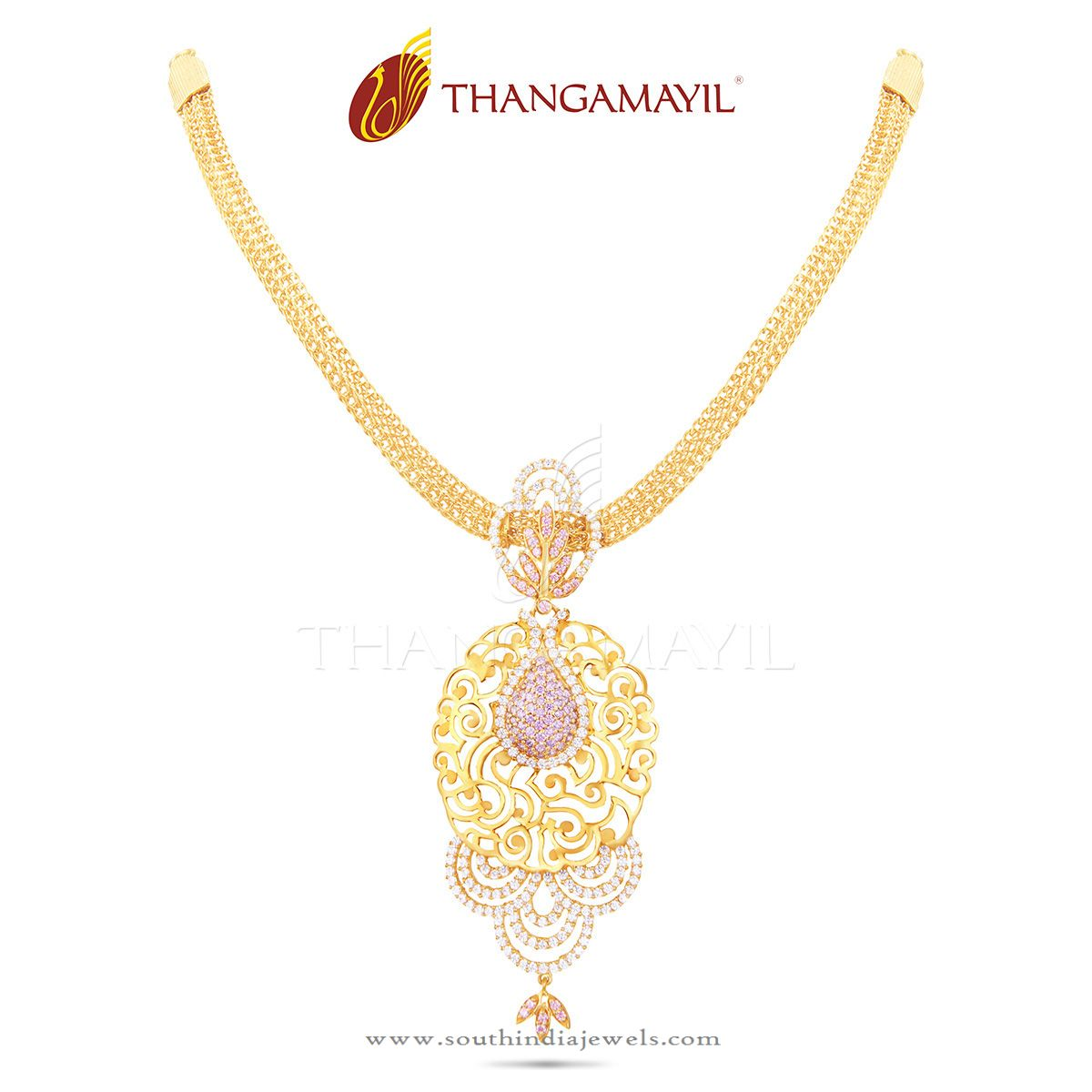 Light Weight Gold Necklace with Stone Pendant ~ South India Jewels