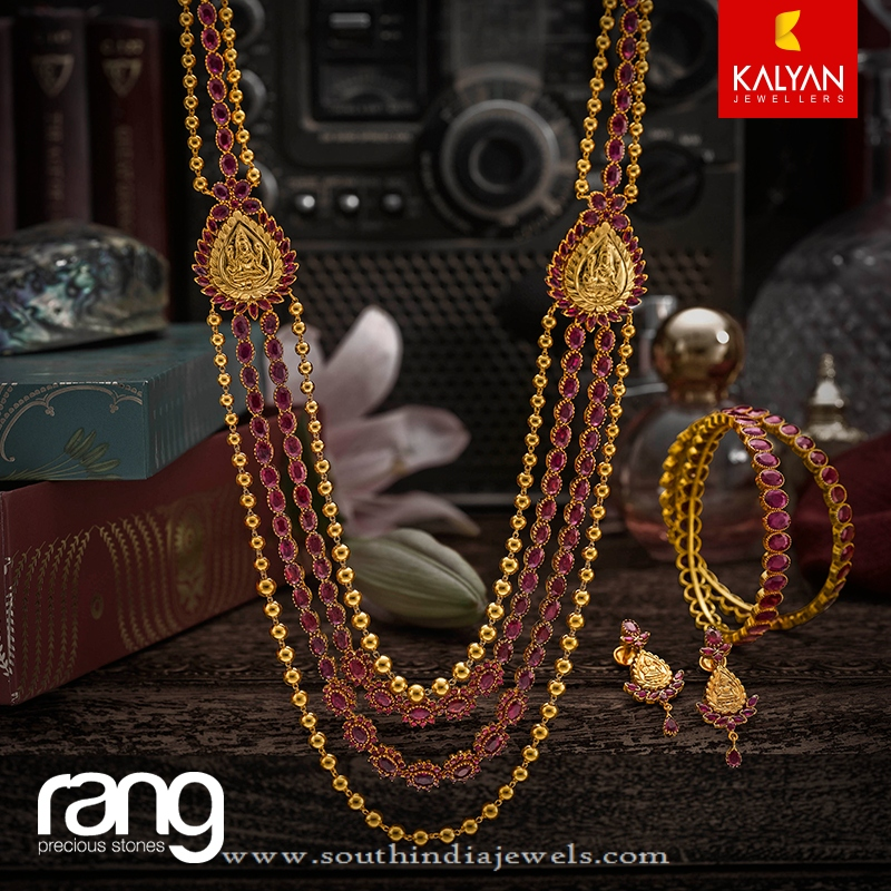 Multilayer Gold Antique Ruby Haram From Kalyan Jewellers