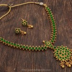 One Gram Gold Plated Green Stone Necklace