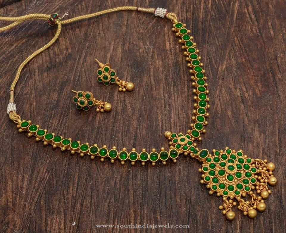 One Gram Gold Plated Green Stone Necklace & One Gram Gold Plated Green Stone Necklace ~ South India Jewels