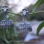 Oxidized Silver Rounded Jhumka Design