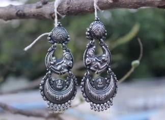 Pure Silver Chandbali Earrings
